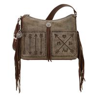 American West Handbag Cross My Heart Collection: Leather Western Zip Top Shoulder Fringe